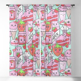 Kawaii Strawberries Sheer Curtain