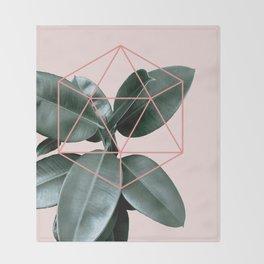 Geometric greenery III Throw Blanket