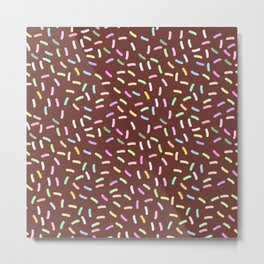 chocolate Glaze with sprinkles. Brown abstract background Metal Print
