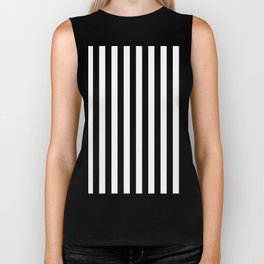 Black and white vertical stripes Biker Tank