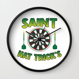 Dart Board Flying Patricks Day Hat Trick's Wall Clock