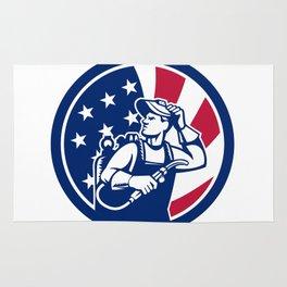 American Lit Operator USA Flag Icon Rug