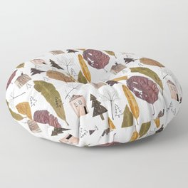 Pattern with autumn leaves and houses and spruces. Floor Pillow