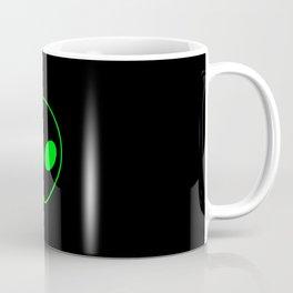 Bright Neon Green Alien Head on Black Coffee Mug