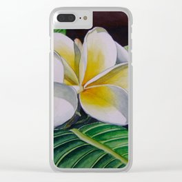 Polynesian Plumeria Clear iPhone Case