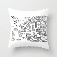 new york map Throw Pillows featuring New York City Map by Claire Lordon