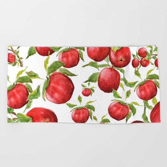 red apple Beach Towel