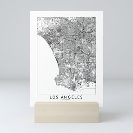 Los Angeles White Map Mini Art Print