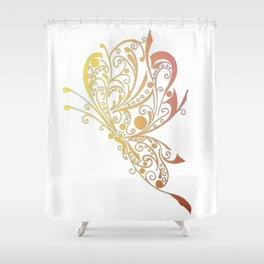 Golden Butterfly Tribal Tattoo Shower Curtain