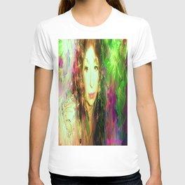 Fairy feather head dress fairy goddess green feathers belly dancer kashmir,art print T-shirt