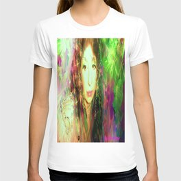 Fairy feather head dress fairy goddess green feathers belly dancer kashmir,art print T-shirt
