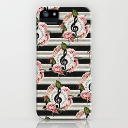 Musical Treble Clef with Watercolor Roses Pattern iPhone Case