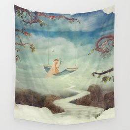 Little girl on the swing in the  fantastic country in sky  Wall Tapestry