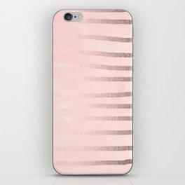 Rosegold Pink Stripes iPhone Skin