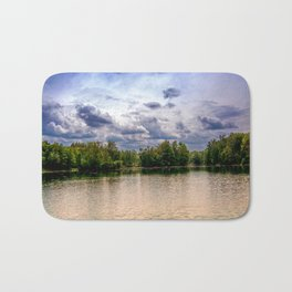 Concept nature : Relaxing by a lake Bath Mat
