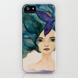 Watercolor Mermaid Blue Green Hair iPhone Case