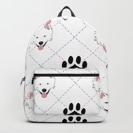 American Eskimo Paw Print Pattern Backpack