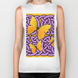 Purple celtic Abstracted butterfly  Pattern Biker Tank