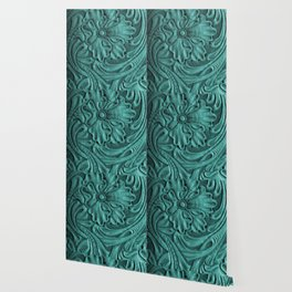 Teal Flower Tooled Leather Wallpaper
