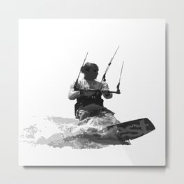 Catch A Wave Kitesurfing Vector Metal Print