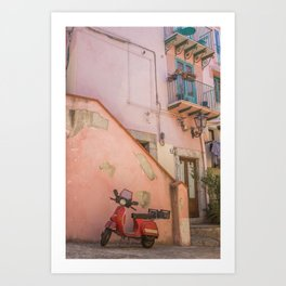 Red Scooter in Sicily Art Print