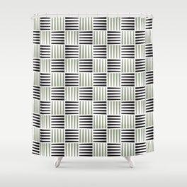 Mid-century Pattern 76 (Black gray crosshatch) Shower Curtain