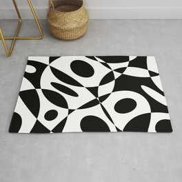 Mid Century Modern Black and White Cutout Circles // V1 Rug