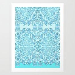 Aqua Damask Diamond Art Print