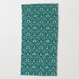 Retro Bathers in Teal Beach Towel