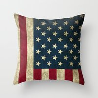 american flag Throw Pillows featuring American Flag  by  Can Encin