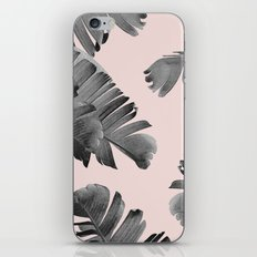 Black and pink palm leaves iPhone Skin
