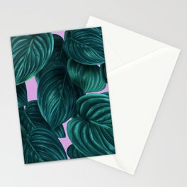 tropical green pattern on pink Stationery Cards