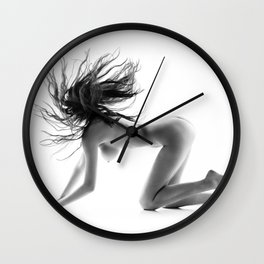 Nude woman with waving hair Wall Clock
