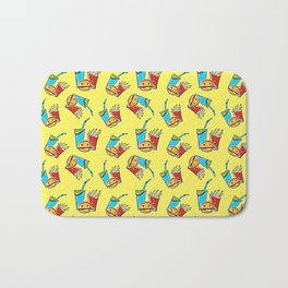 Fun Fast Food (seamless pattern in yellow) Bath Mat