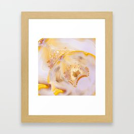 Modern Blush and gold Agate Framed Art Print