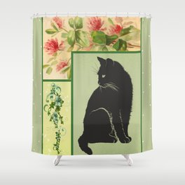 Patchwork Flowers and Cat Shower Curtain