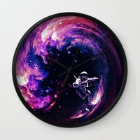 surfing Wall Clocks featuring Space Surfing by nicebleed