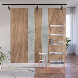 Striped Wood Grain Design - White Marble #497 Wall Mural