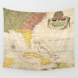 Vintage Map of The Caribbean (1754) Wall Tapestry