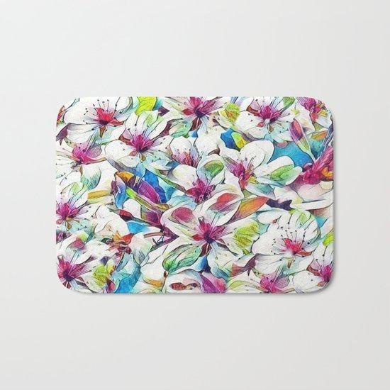 Joyful Spring Floral Abstract Bath Mat