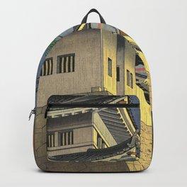 Asano Takeji Japanese Woodblock Print Vintage Mid Century Art Medieval Castle Rainbow Backpack