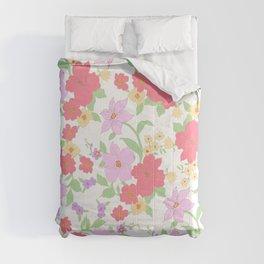 Botanical lavender coral gold mint green floral Comforters