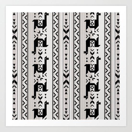 Llamas_Gray & Black Art Print