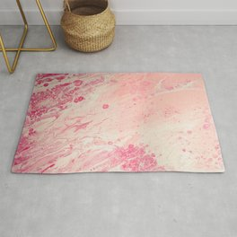 Fluid Art Acrylic Painting, Pour 2 - Light Pink, Magenta & White Blended Color Rug