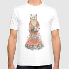 The Bear and the Poppies MEDIUM Mens Fitted Tee White