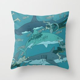Sharks Pattern Throw Pillow
