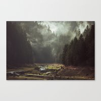 green Canvas Prints featuring Foggy Forest Creek by Kevin Russ
