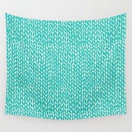 Hand Knit Aqua Wall Tapestry
