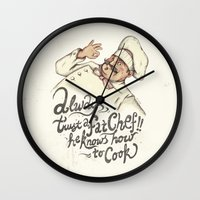 chef Wall Clocks featuring CHEF by Mike Koubou