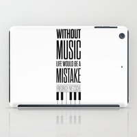 nietzsche iPad Cases featuring Lab No. 4 - Friedrich Nietzsche Quote life music typography poster by Lab No. 4